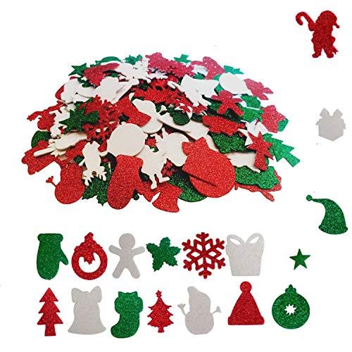 Adesivi in schiuma di Natale per feste di Natale e decorazioni natalizie (192 pezzi)