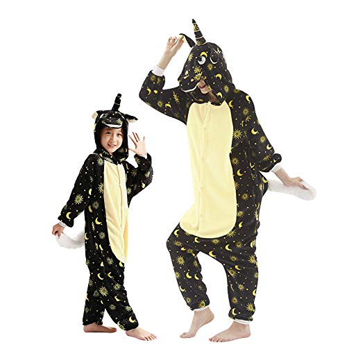 URMOSTIN Unisex Erwachsene Kinder Einhorn Pyjamas Cosplay Nachtwäsche Tier Onesie Kostüme Fleece Sleepsuit Halloween Karneval Loungewear