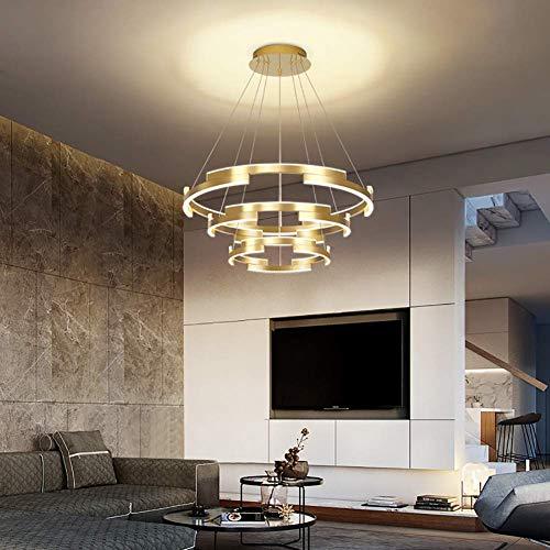 LED 120W Lampara colgante moderna Iluminacion de techo de isla Interior Lampara de diseno de 3 anillos Lampara de mesa de comedor Lampara colgante de metal y acrilico para sala de estar (Calido , Or
