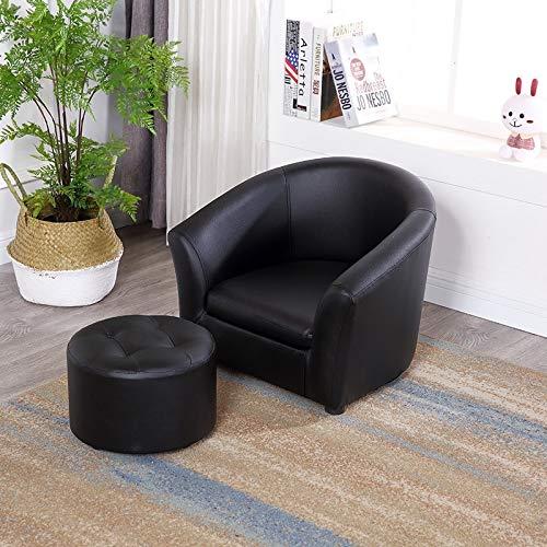 Htimer sillón Infantil Banco de sofá para niños Dormitorio Individual Mini Asiento de Dibujos Animados Lindo bebé niño niña jardín de Infantes pequeño sofá, Negro Conjunto de sofás Redondos