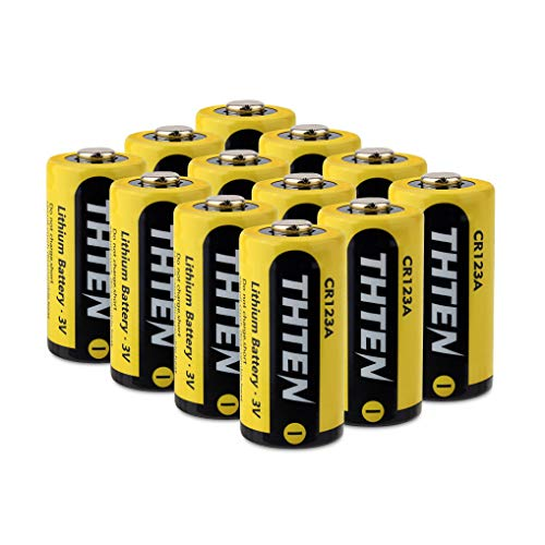 Thten CR123A 3V Lithium Battery,1600mAh Non-Rechargeable with PTC Protection Photo Lithium Batteries,10 Years of Shelf Life for Polaroid, Microphones, Flashlight,12 Pack