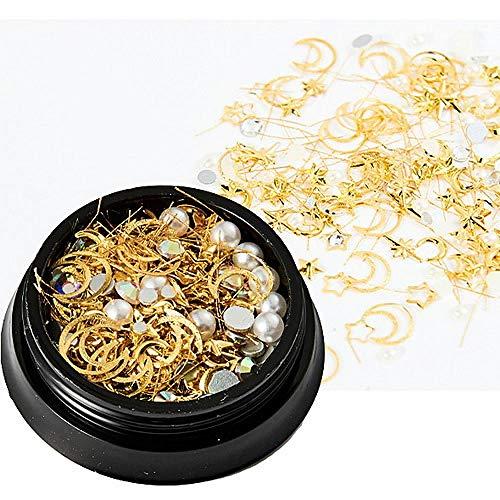 1 Mix box Set Star Moon Resina UV Epoxy Molde Cobre Redondo Remache Lentejuelas Adornos de diamantes Para joyería-Estrella Lunar