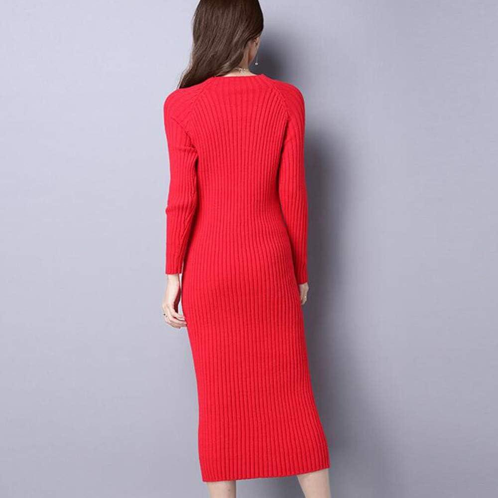 JIAMIJ vrouwen ronde hals kabel gebreide trui jurk met lange mouwen Midi jurk rood