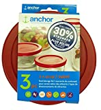 Anchor Hocking 30% Stronger Replacement Lid 3 x 4Cup / 946ml / 1 qt, Red, Round, Improved (ne k)