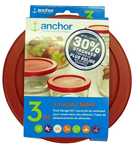 Anchor Hocking 30% Stronger Replacement Lid 3 x 4Cup / 946ml / 1 qt, Red, Round, Improved (Оne Расk)