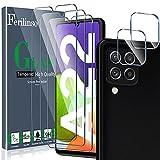 Ferilinso Protector de Pantalla Diseñado para Samsung Galaxy A22 4G, 3 Piezas HD Cristal Templado con 2 Piezas Protector de Lente de cámara, Funda Amistoso, Dureza 9H, Sin Burbujas