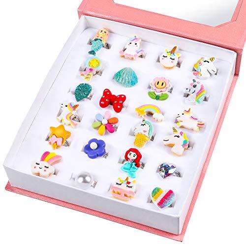 Lorfancy 24 Pcs Girls Jewelry Rings Kids Little Teen Girl Cute Unicorn Adjustable Pretend Play Toys...