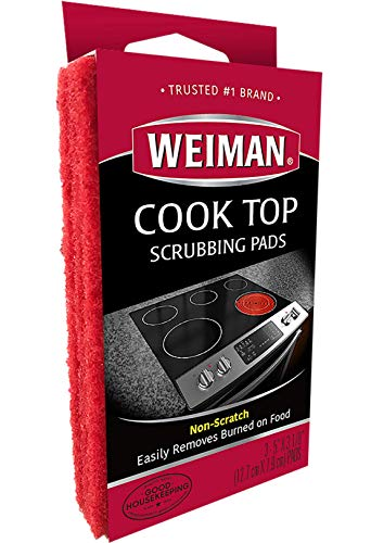 Weiman Cook Top Scrubbing Pads – Gently Clean and Remove Burnedon Food from All Smooth Top and Glass Cooktop Ranges 3 reusable pads