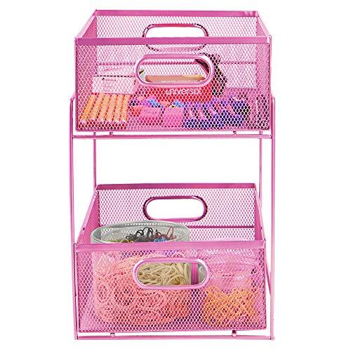 Mind Reader Sliding Metal Baskets Cabinet Storage Organizer Home Office Kitchen Bathroom One Size Pink 2 Tier Mesh