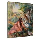 Wandbild Pierre-Auguste Renoir Junge Mädchen auf der Wiese - 50x60cm hochkant - Alte Meister Berühmte Gemälde Leinwandbild Kunstdruck Bild auf Leinwand