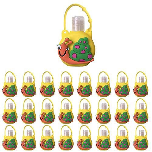 Xniral 25 STK Kinder Seife Wasserflasche Schlüsselbund 30ml Leere Reise Kunststoff Schlüsselbundträger mit Silikon Cartoon Fall auslaufsichere nachfüllbare Behälte(H)