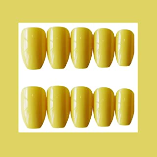 MISUD Ballet Fake Nails Light Yellow Glossy 24 Pcs Medium Size Press-on Style Wearable False Nail Tips (Eye-catching Canary)