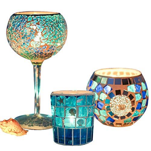 NUVX Mosaik Glas Kerzenhalter, Handgefertigt, Kerzenhalter Dekoration Weihnachten Hochzeit Tischdekoration, Geburtstagsfeier Dekoration