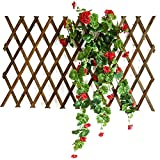 ZENGAI Gartenzaun Variabel Verstellbar Bois Anticorrosif Télescopique Bois Massif Plante Grimpante Rambarde Mur Décoration Support De Fleurs Grille (Color : Brown, Size : High150cm)