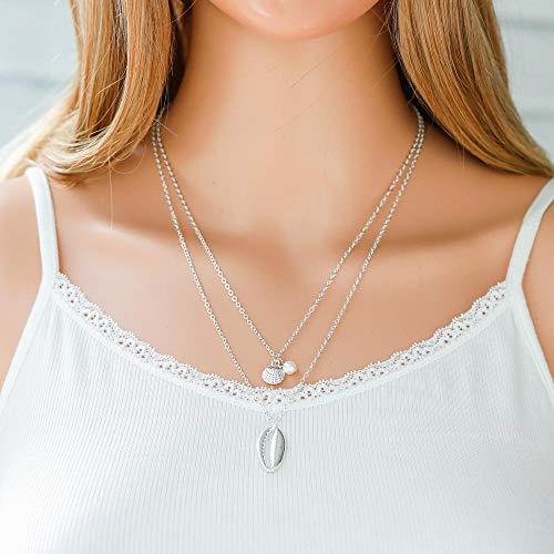 Jovono Bohemian Multi - Collar con colgante de perla y concha para mujeres y niñas