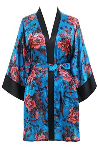 PRODESIGN damska krótka podomka kimono piwonia kwiatowy nadruk kimono szlafrok długość do kolan satynowy szlafrok bielizna nocna okrycie dla kobiet piżama ślubna impreza