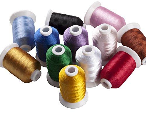 Simthread 12 Basis Regulär Farben Polyester Maschinen Stickgarn - 1,000 Meters, für Brother, Babylock, Bernette, Janome, Kenmore, Singer, W6 N 5000 Stickmaschine und Nähmaschine