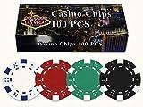Da Vinci 100 Dice Striped Poker Chips in Las Vegas Gift Box, 11.5gm