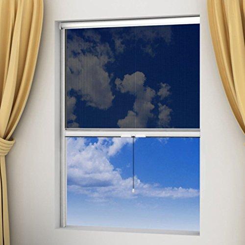 Zora Walter Fliegengitter weiß aufrollbar für Fenster 140 x 170 cm Maschenmaterial: Fiberglas Einfache Montage