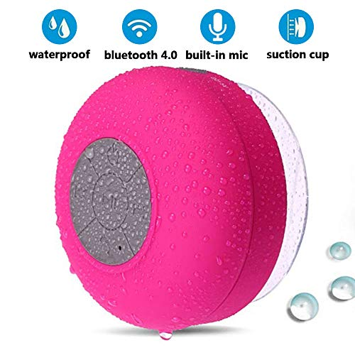 BONBON Bluetooth Shower Speaker Waterproof Water Resistant Handsfree Portable Wireless Shower Speaker,Build-in Microphone, Solid Suction Cup, 4 hrs Play Time,(Pink)