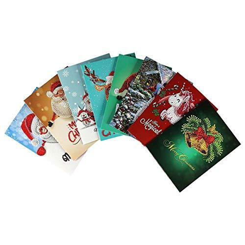 Chennie 8 Unids/Lote Tarjetas de Felicitación de Navidad DIY Kit de Tarjetas de Pintura de Diamantes Hechos a Mano