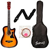 Juârez Acoustic Guitar, 38 Inch Cutaway, JRZ38C with Bag, Strings, Pick and Strap, 3TS Sunburst