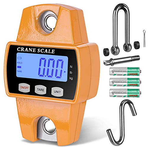 RoMech 660lb Digital Hanging Scale with Cast Aluminum Case, Handheld 300Kg Mini Crane Scale with Hooks for Farm Hunting Fishing Outdoor (Tangerine)
