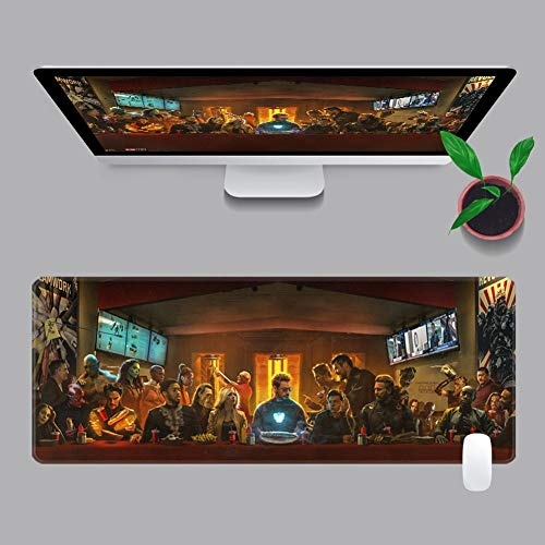 Marvel Iron Man Mouse Pad Avengers Desk Mat, Large Lock Side Thickened Extended Anime Desk Mat, Non-Slip Rubber Base, Suitable for Games/Desks (Color : B, Size : 800X300X3mm)