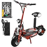 Mophorn Folding Electric Scooter 48V 1600W Motor with Adjustable Height 12 Mile Range (red)