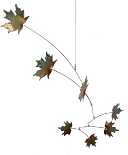 Modern Artisans Maple Leaves Spinning Copper Mobile for Indoor or Outdoor, Standard 7-Leaf Version