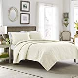 Laura Ashley   Felicity Collection   Quilt Set-Ultra Soft All Season Bedding, Reversible Stylish Coverlet With Matching Sham(s), King, Ivory