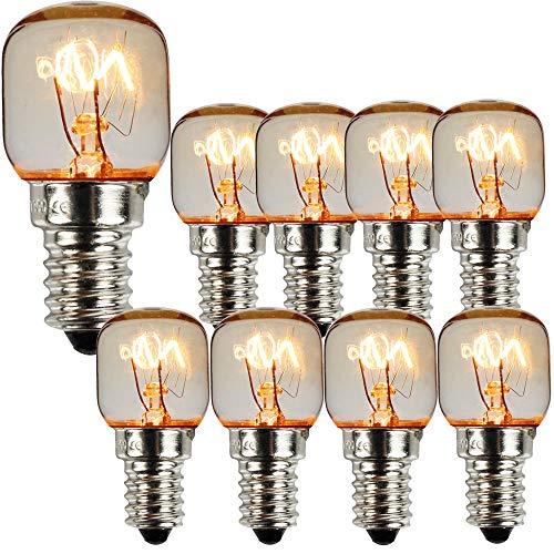10er Pack SES E14 Schraubverschluss Pygmäenlampen 300 Grad Mikrowellenofen Nennlicht Glühbirne Salzlampen (Nickel 15W)