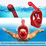 WELSPO Full Face Snorkel Mask with Panoramic View Anti-Fog, Snorkeling Mask with Camera Mount, Adjustable Head Strap Snorkeling Mask for Men Women Adult(Red)
