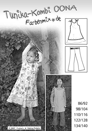 Oona Farbenmix Schnittmuster (Papierschnittmuster für die Größen 86/92 - 134/140), für Nähanfänger, Tunika, Kleid, Hose