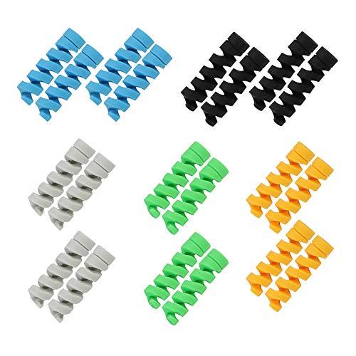 FLZONE 20 Stück Ladegerät Kabelschoner, Flexibler Silikon USB Schutz, Maus Kabelschutz, für Handys Handykabel,Kopfhörer/Computer-Kabel Ladekabel (Schwarz, Orange, grau,Blau, Grün)
