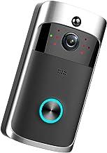 دوربین Doorbell Video - زنگ درب ضد آب ، ویدئو HD بی سیم هوشمند WiFi IR دوربین فیلمبرداری دوربین داخلی Intercom امنیت خانه ، هشدارهای فعال شده با حرکت ، نصب آسان ، IP65 ، دید در شب (سیاه)