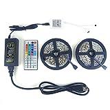 LEDNICEKER 2 Reels 5050 LED Strip Lights - 32.8ft / 10M Flexible 5050 RGB LED Light with 44key LED Controller and DC 12V5A Power Adapter