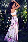 chushi Vestidos de Mujer Gasa Mujer Floral Jersey Gitano Largo Maxi Estampado Completo Falda De Vacaciones Playa Vestido de Novia Zzib (Color : C, Size : S)