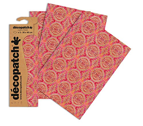 Decopatch Papier No. 393 (rot Kreisornament gold, 395 x 298 mm) 3er Pack