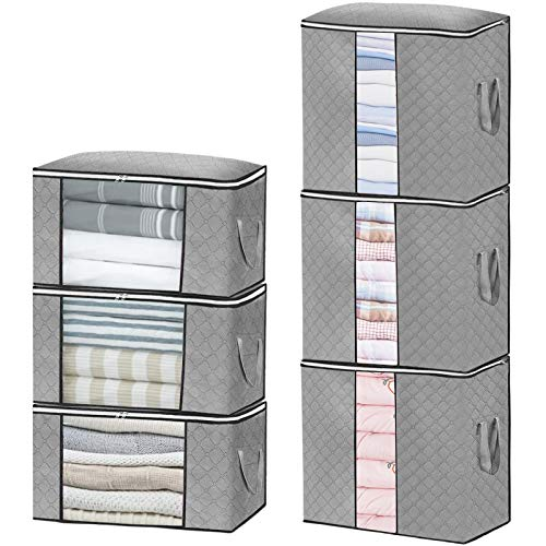 Perkisboby 6 Pack Large Capacity Storage Bag Organizers, 3 Horizontal & 3 Vertical Foldable Closet Storage Clothes Bags with Clear Window, Carry Handles for Clothes, Blankets, Closets, Bedrooms