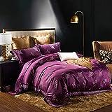 yaonuli Satin Satin Jacquard vierteilige Spitze Blatt Bettbezug Dior -lila 1,5/1,8 m Bettbezug 200 * 230