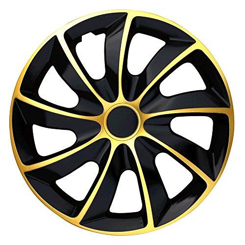 Autoteppich Stylers (Größe wählbar) 15 Zoll Radkappen/Radzierblenden Quad Bicolor (Schwarz-Gold) passend für Fast alle Fahrzeugtypen – universal