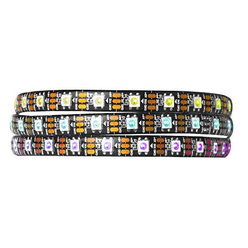 BTF-LIGHTING 1M 60 LEDs/Pixels/m WS2812B Schwarz PCB RGB adressierbare Strip Streifen mit 5050 SMD LEDs Wasserdicht IP65