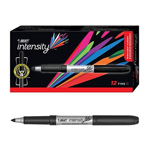 BIC Marking Permanent Marker Ultra Fine – Wasserfester Marker mit feiner Rundspitze für viele Oberflächen – 12 schwarze Stifte – Strichstärke 0,6 mm