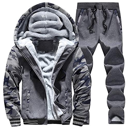 URIBAKY - Disfraz de camuflaje para hombre, talla grande, chaqueta de cazadora, gris oscuro, L