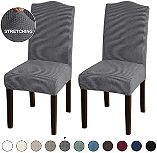 Turquoize Dining Room Chair Covers Stretch Dining Chair Slipcover Parsons Chair Covers Chair Furniture Protector Covers Removable Washable Chair Cover for Dining Room, Hotel, Ceremony (2, Grey)