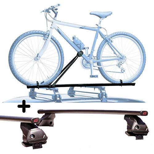 PROPOSTEONLINE Portabici per Tetto Auto Compatibile per Fiat 500L Living 5p (da 2013) Porta Biciclette Universale in Acciaio Incluso di Barre Portatutto
