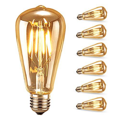 Bombilla de Filamento LED, Samione Vintage E27 Edison Bombilla Tungsteno Filamento Blanco Cálido Decorativa Bombilla de Incandescente, 6 Unidades [Clase de eficiencia energética A++]