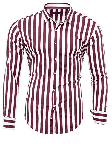 Kayhan Herren Hemd, Striped MX MZ Wine L