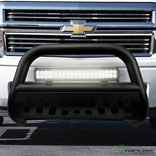 Topline Autopart Matte Black Bull Bar Brush Push Bumper Grill Grille Guard With Skid Plate + 120W CREE LED Fog Light For 07-18 Chevy Silverado Tahoe Suburban Avalanche/GMC Sierra Yukon XL 1500